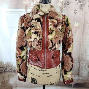 Betsey Johnson Faux Fur and Leather  Bomber jacket